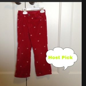Red pants with white bows girls size 5